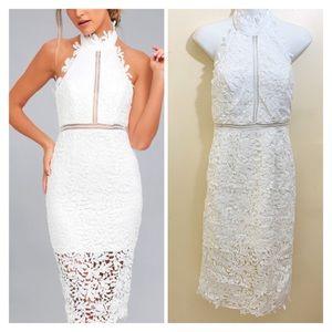 Lulu's Divine Destiny White Lace Midi Dress Small